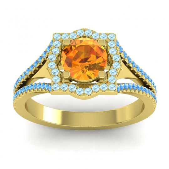 Ornate Halo Naksatra Citrine Ring with Aquamarine and Swiss Blue Topaz in 14k Yellow Gold
