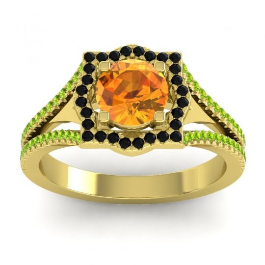 Ornate Halo Naksatra Citrine Ring with Black Onyx and Peridot in 18k Yellow Gold