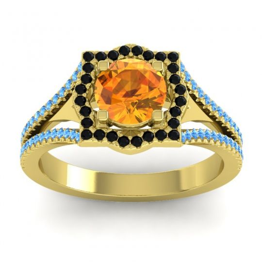 Ornate Halo Naksatra Citrine Ring with Black Onyx and Swiss Blue Topaz in 14k Yellow Gold
