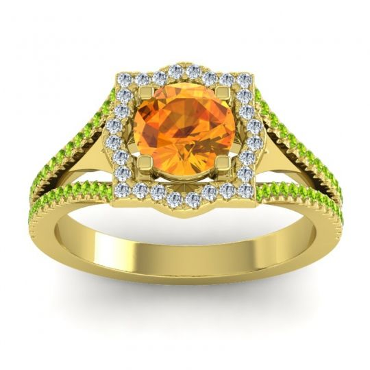 Ornate Halo Naksatra Citrine Ring with Diamond and Peridot in 18k Yellow Gold