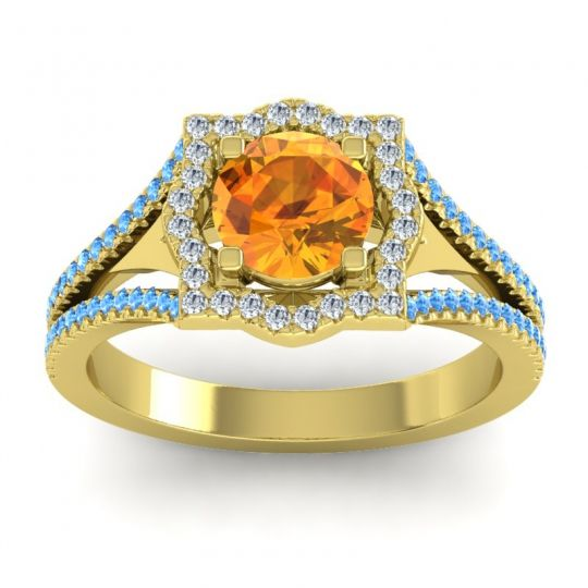 Ornate Halo Naksatra Citrine Ring with Diamond and Swiss Blue Topaz in 14k Yellow Gold