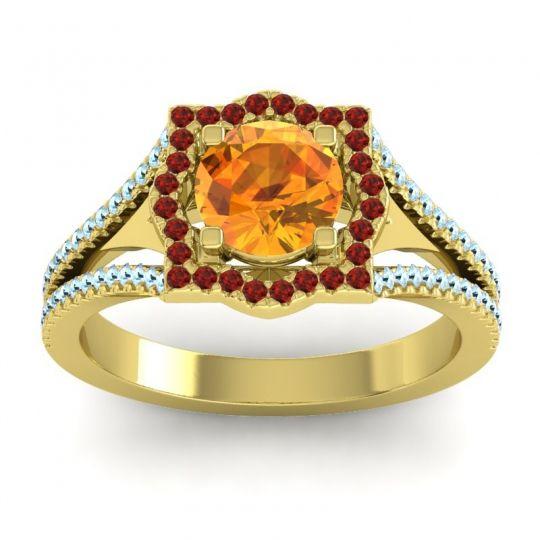 Ornate Halo Naksatra Citrine Ring with Garnet and Aquamarine in 18k Yellow Gold