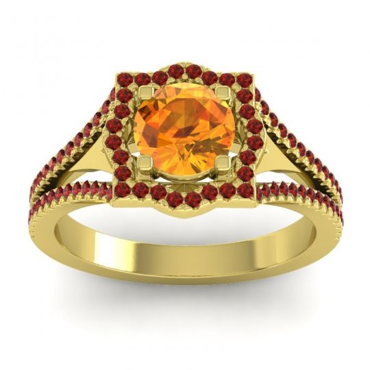Ornate Halo Naksatra Citrine Ring with Garnet in 14k Yellow Gold