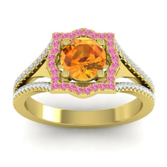 Ornate Halo Naksatra Citrine Ring with Pink Tourmaline and Diamond in 18k Yellow Gold
