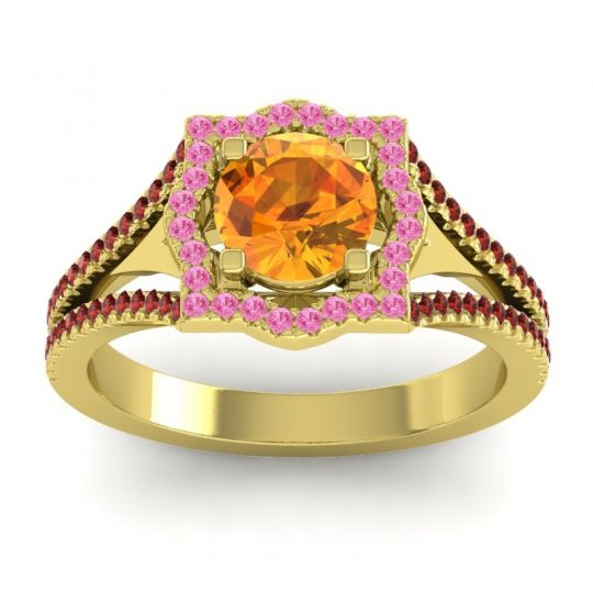Ornate Halo Naksatra Citrine Ring with Pink Tourmaline and Garnet in 18k Yellow Gold