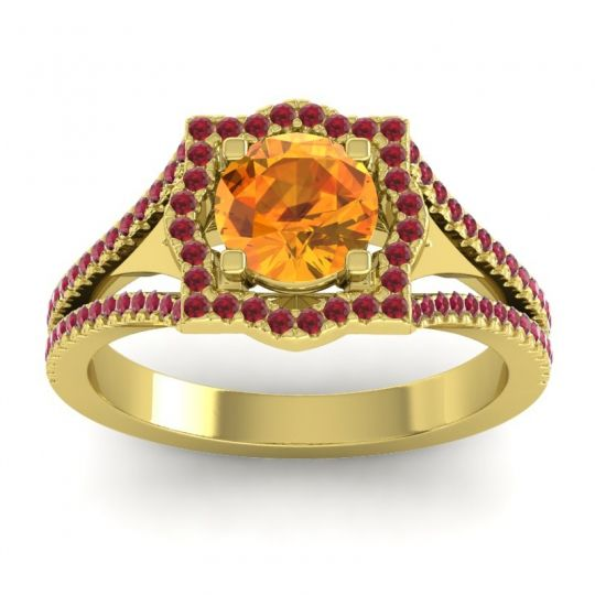 Ornate Halo Naksatra Citrine Ring with Ruby in 14k Yellow Gold
