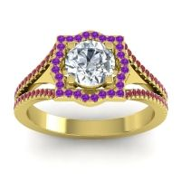 Ornate Halo Naksatra Diamond Ring with Amethyst and Ruby in 14k Yellow Gold