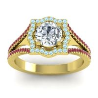 Ornate Halo Naksatra Diamond Ring with Aquamarine and Ruby in 14k Yellow Gold