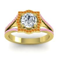 Ornate Halo Naksatra Diamond Ring with Citrine and Pink Tourmaline in 18k Yellow Gold