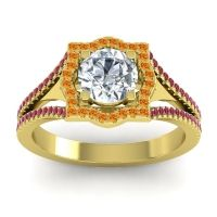 Ornate Halo Naksatra Diamond Ring with Citrine and Ruby in 18k Yellow Gold