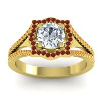 Ornate Halo Naksatra Diamond Ring with Garnet and Citrine in 14k Yellow Gold