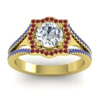 Ornate Halo Naksatra Diamond Ring with Ruby and Blue Sapphire in 14k Yellow Gold