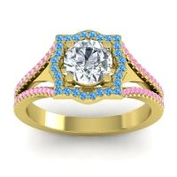 Ornate Halo Naksatra Diamond Ring with Swiss Blue Topaz and Pink Tourmaline in 18k Yellow Gold