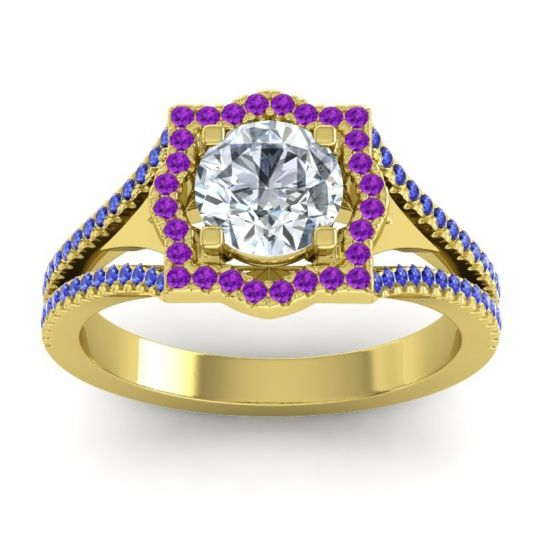 Ornate Halo Naksatra Diamond Ring with Amethyst and Blue Sapphire in 14k Yellow Gold