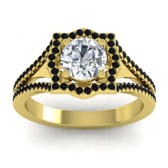 Ornate Halo Naksatra Diamond Ring with Black Onyx in 14k Yellow Gold