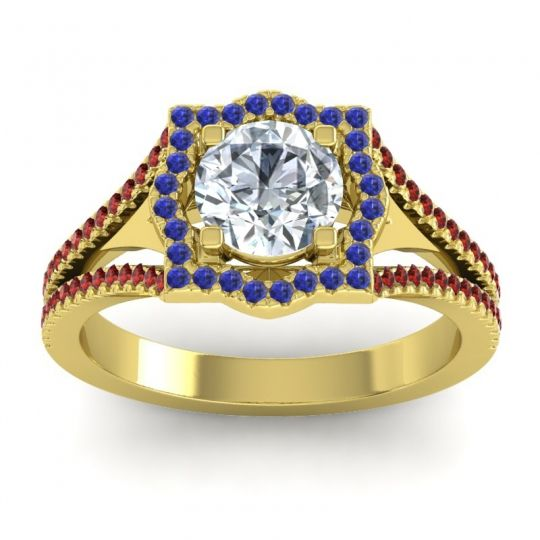 Ornate Halo Naksatra Diamond Ring with Blue Sapphire and Garnet in 18k Yellow Gold