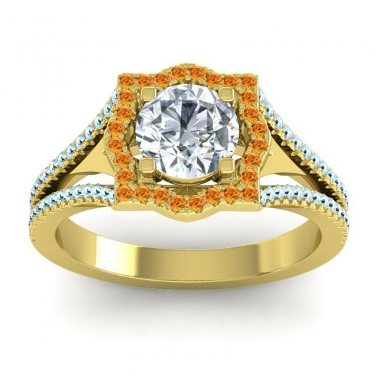 Ornate Halo Naksatra Diamond Ring with Citrine and Aquamarine in 14k Yellow Gold