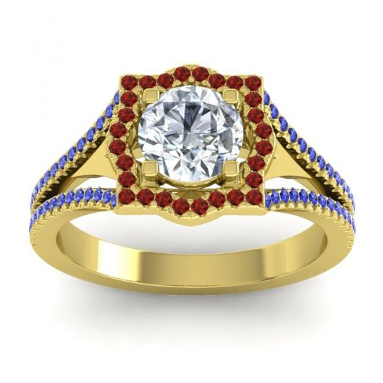 Ornate Halo Naksatra Diamond Ring with Garnet and Blue Sapphire in 18k Yellow Gold