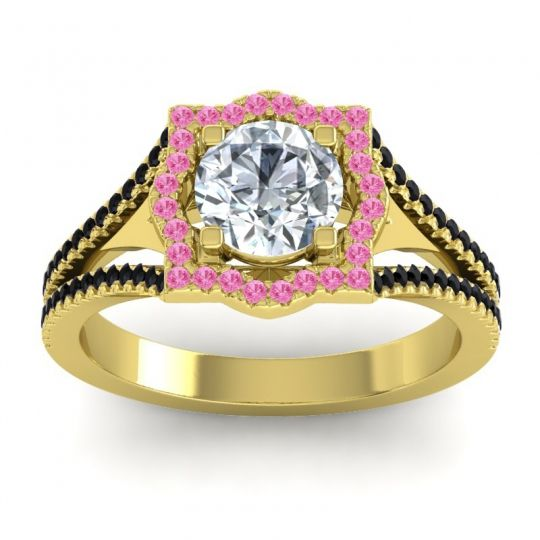 Ornate Halo Naksatra Diamond Ring with Pink Tourmaline and Black Onyx in 14k Yellow Gold