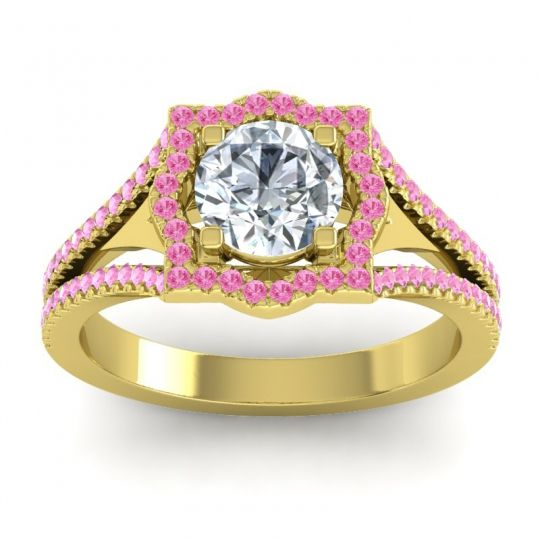 Ornate Halo Naksatra Diamond Ring with Pink Tourmaline in 18k Yellow Gold