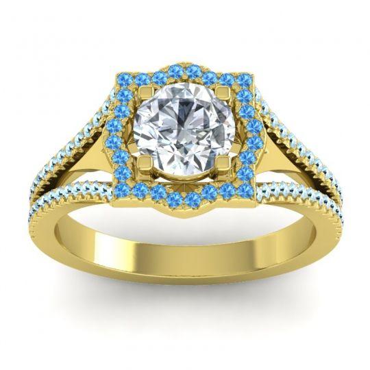 Ornate Halo Naksatra Diamond Ring with Swiss Blue Topaz and Aquamarine in 14k Yellow Gold