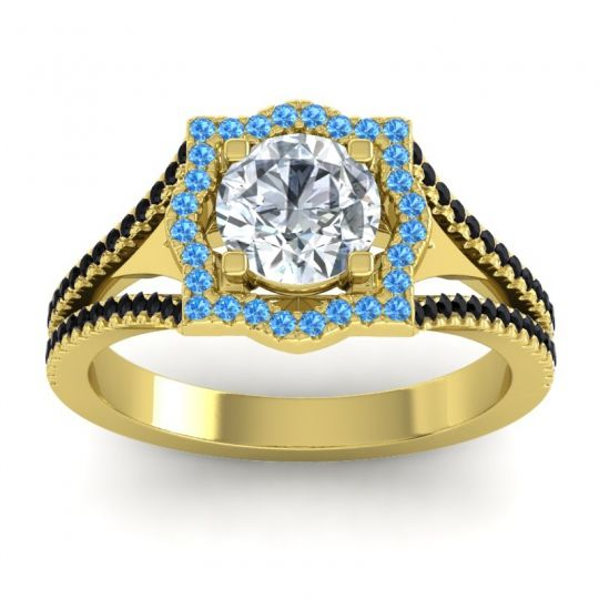Ornate Halo Naksatra Diamond Ring with Swiss Blue Topaz and Black Onyx in 14k Yellow Gold