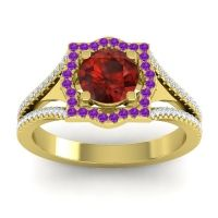 Ornate Halo Naksatra Garnet Ring with Amethyst and Diamond in 14k Yellow Gold