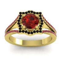 Ornate Halo Naksatra Garnet Ring with Black Onyx and Ruby in 18k Yellow Gold