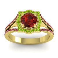 Ornate Halo Naksatra Garnet Ring with Peridot and Ruby in 14k Yellow Gold