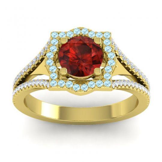 Ornate Halo Naksatra Garnet Ring with Aquamarine and Diamond in 18k Yellow Gold