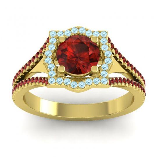 Ornate Halo Naksatra Garnet Ring with Aquamarine in 18k Yellow Gold