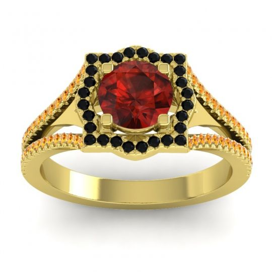 Ornate Halo Naksatra Garnet Ring with Black Onyx and Citrine in 14k Yellow Gold