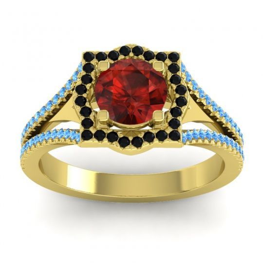 Ornate Halo Naksatra Garnet Ring with Black Onyx and Swiss Blue Topaz in 14k Yellow Gold