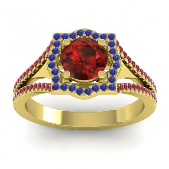 Ornate Halo Naksatra Garnet Ring with Blue Sapphire and Ruby in 18k Yellow Gold