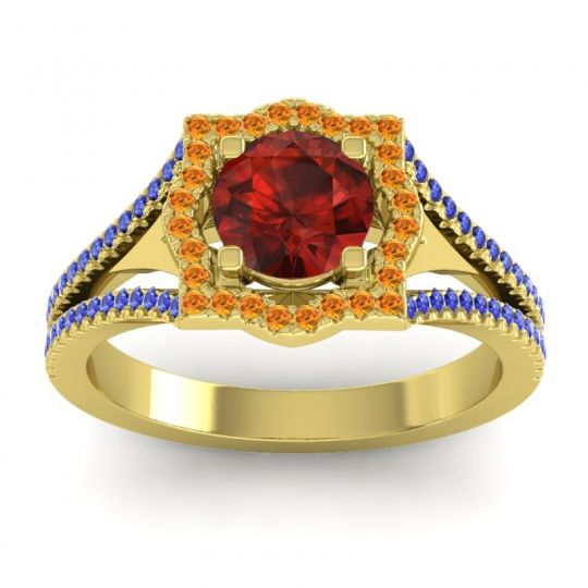 Ornate Halo Naksatra Garnet Ring with Citrine and Blue Sapphire in 18k Yellow Gold