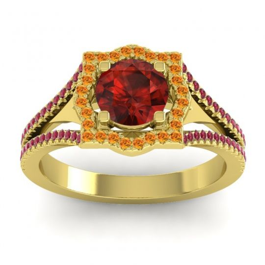 Ornate Halo Naksatra Garnet Ring with Citrine and Ruby in 18k Yellow Gold