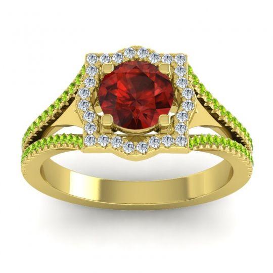 Ornate Halo Naksatra Garnet Ring with Diamond and Peridot in 14k Yellow Gold