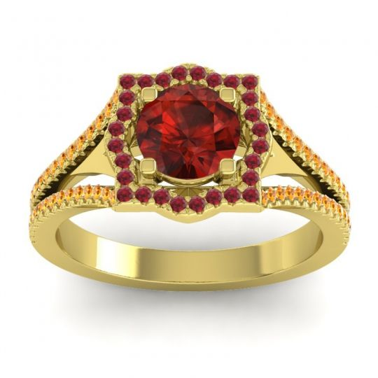 Ornate Halo Naksatra Garnet Ring with Ruby and Citrine in 14k Yellow Gold