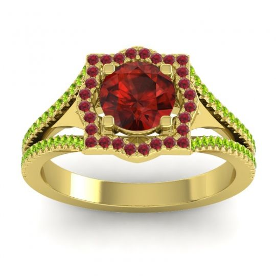 Ornate Halo Naksatra Garnet Ring with Ruby and Peridot in 18k Yellow Gold