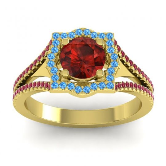 Ornate Halo Naksatra Garnet Ring with Swiss Blue Topaz and Ruby in 18k Yellow Gold