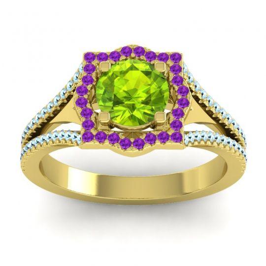 Ornate Halo Naksatra Peridot Ring with Amethyst and Aquamarine in 18k Yellow Gold