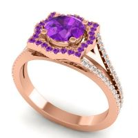 Ornate Halo Naksatra Amethyst Ring with Diamond in 14K Rose Gold