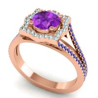 Ornate Halo Naksatra Amethyst Ring with Aquamarine and Blue Sapphire in 18K Rose Gold