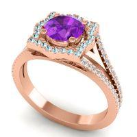Ornate Halo Naksatra Amethyst Ring with Aquamarine and Diamond in 14K Rose Gold