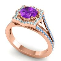 Ornate Halo Naksatra Amethyst Ring with Aquamarine and Swiss Blue Topaz in 14K Rose Gold