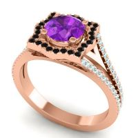 Ornate Halo Naksatra Amethyst Ring with Black Onyx and Aquamarine in 14K Rose Gold
