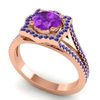 Ornate Halo Naksatra Amethyst Ring with Blue Sapphire in 18K Rose Gold