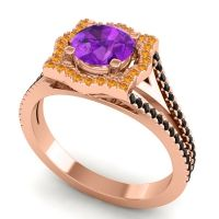 Ornate Halo Naksatra Amethyst Ring with Citrine and Black Onyx in 18K Rose Gold