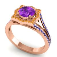 Ornate Halo Naksatra Amethyst Ring with Citrine and Blue Sapphire in 18K Rose Gold