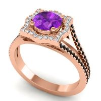 Ornate Halo Naksatra Amethyst Ring with Diamond and Black Onyx in 14K Rose Gold
